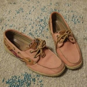 Sperry Leather Pink Plaid Boat Shoes